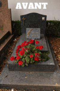 tombe encrassée au cimetière d'Armentières