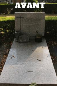 sépulture sale au cimetière de l'est