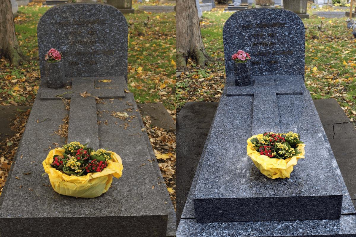 avant et après nettoyage de pierre tombale au cimetière Lille sud