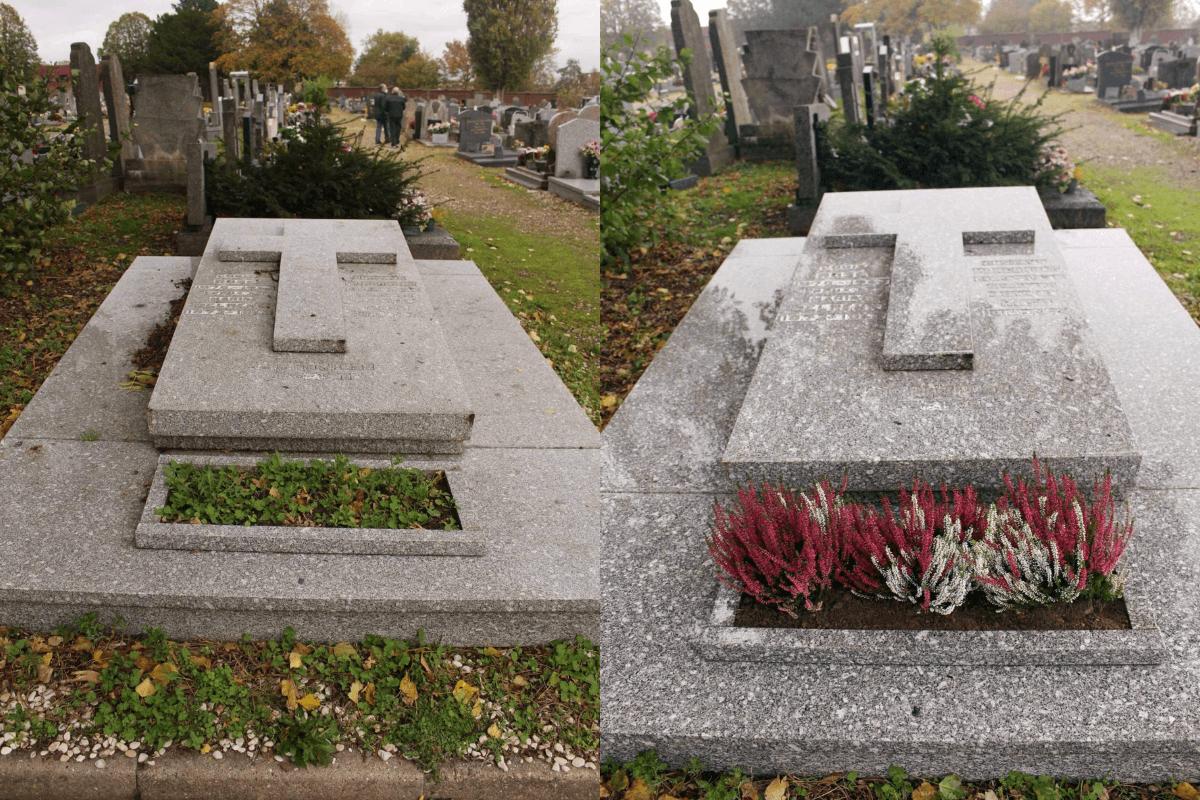 avant et après nettoyage de sépulture au cimetière de Roubaix